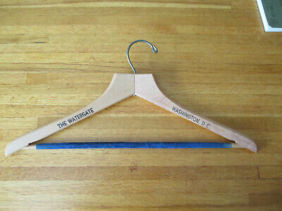 Vintage Watergate Washington DC Heavy Wooden Hanger with felted crossbar