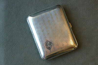 Vintage Antique Solid Sterling Silver Cigarette Card Case Engine Turned by Elgin