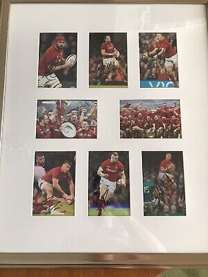 6 Signed Wales Rugby - Six Nations Grandslam Photos Autographs Framed