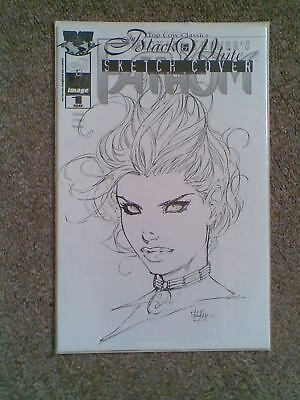 Fathom Black & White # 1 DF Michael Turner Sketch Cover c/w COA Top Cow SCARCE