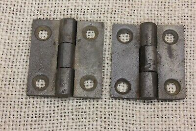 "2 small old Door HINGES BUTT 1 1/2 X 1 1/4"" cast iron store stock vintage"