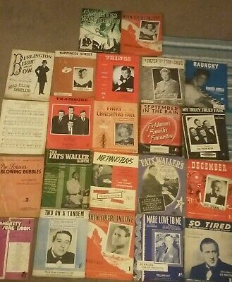 Vintage piano sheet music, popular songs from 1940s & 1950s, 22 books