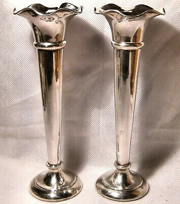 1920s Pair of Walker & Hall Silver Plated Trumpet Style Vases