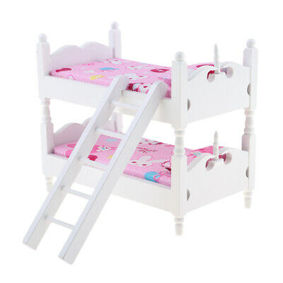 1//12Scale Dollhouse Miniature Kids Bedroom Furniture Bunk Bed Pink Bunny