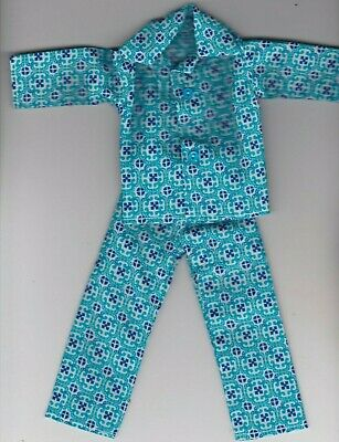Homemade Doll Clothes Pretty Black and White Print Button Pajamas fit Ken KP1