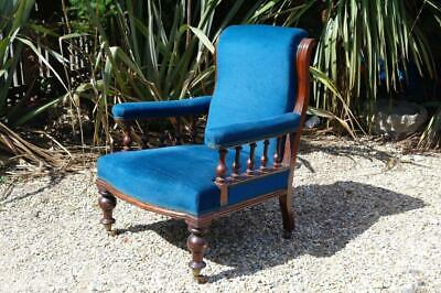 Antique Victorian Armchair Mahogany Frame Blue Country Estate Chair Rustic CHIC