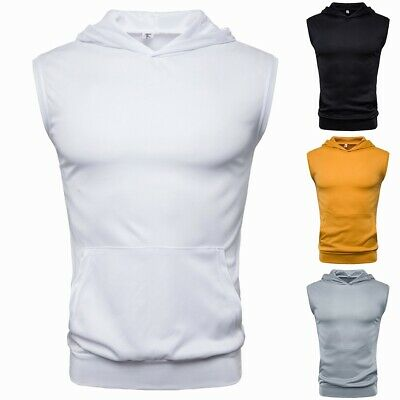 Men Muscle Hoodie Tank Sleeveless Tee Vest Top Gym Sports Workout T-Shirt Blouse