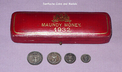 1932 KING GEORGE V SET MAUNDY COINS IN ORIGINAL CASE - 4d to 1d - SCARCE