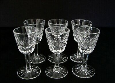6 Lismore Waterford Crystal Cut Glass Small Liqueur Cocktail / Cordials Ireland