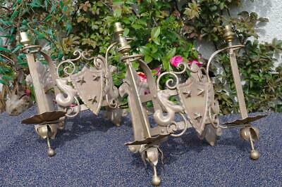Vintage French Iron Wall Sconce Lights Heraldic Sheild Chateau Exterior Lamps x2