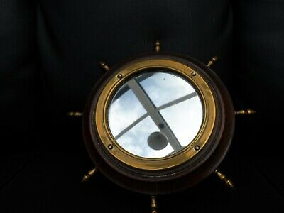 Vintage small wooden and Brass  wall hanging Mirror Nautical Ships wheel