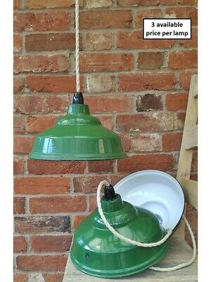 "Vintage 12"" Green REAL Enamel Kitchen Pendant Lamp/Lights REWIRED 3 available"