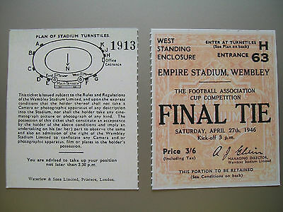 1946 F.A. Cup Final Ticket Derby County v Charlton Athletic Mint condition Repro