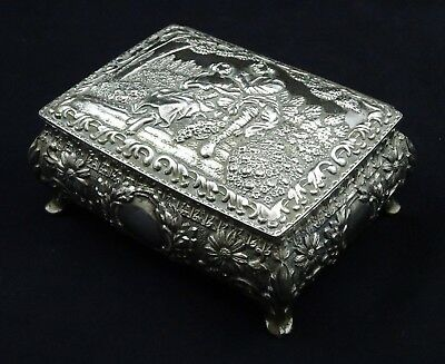 Victorian Embossed Lovers Scene Jewellery Box Silver Plated Ornate Finish Repair