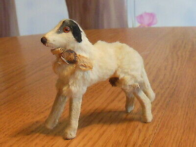 Vintage Toy Borzoi Russian Wolfhound Fur Dog  for Antique Doll