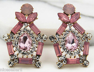 BOHO Fashion Pink Crystal Ear Drop Dangle Stud long Ancient Silver Earrings 277