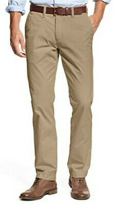 Tommy Hilfiger Mens Tailored Fit Chino Pants Khaki 4-Pocket 100% Cotton Zip Fly