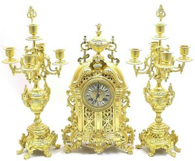 Antique Mantle Clock French Superb Gilt Pierced Embossed Bronze Garniture Set
