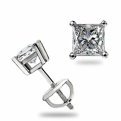 1.0 Ct Princess Cut Solitaire Stud Earrings 14k White Gold Screw back Great Gift