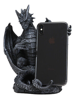 Gothic Standing Guardian Dragon With Outstretched Arm Cell Phone Holder Figurine