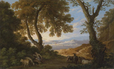Oil painting beautiful landscape with shepherd sheep goat under big tree perfect