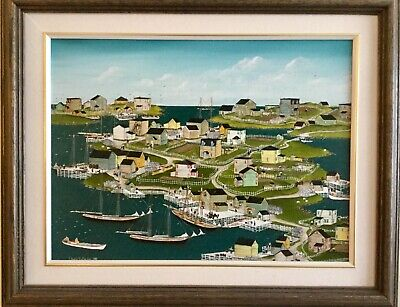 Original painting Newfoundland harbour by Canadian Sheila Hollander 21x16 3/4 in
