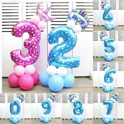 Inch Party Balloons Helium Ballons Foil Decor Pink&Blue 32 Digit Number Birthday
