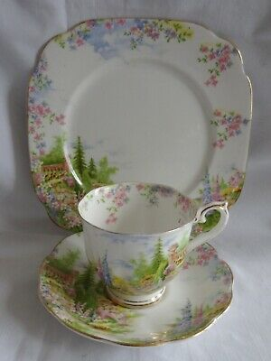 """Royal Albert Crown China KENTISH ROCKERY Cup Saucer 8"""" Plate TRIO Queen Mary"""