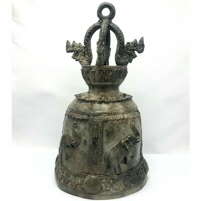 Asia Cambodia Thailand Antique Elephant Rhino Bronze Bell Collectible Statue Old