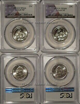 2019 P & D Lowell NP Quarter 2 Coin Set 25c PCGS MS66 USA Flag