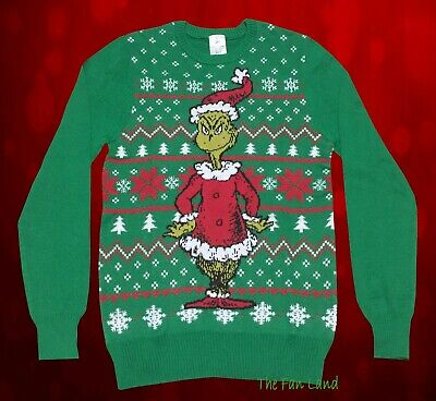 New Grinch Dr.Seuss Mens Green Holiday Ugly Christmas Sweater