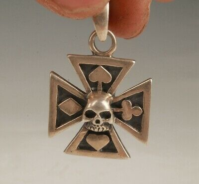 Rare Chinese 925 Silver Pendant Statue Cross Flower Handicraft Collection Gift