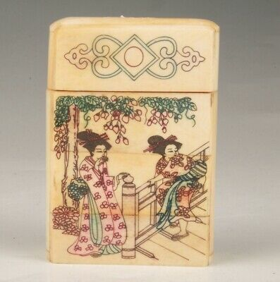 Precious Japanese Style Cattle Bone Jewelry Box Old Hand Painting Belle Craft