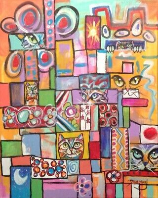 Broadway Original colorful Acrylic Canvas 16 x 20 in. Playful Abstract Painting