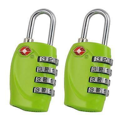 2x TSA Approved 4 Dial Combination Suitcase Luggage Security Padlock Travel Lock