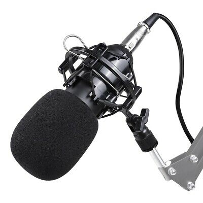 BM800 Condenser Microphone Kit Shock Mount Record Mic Anti-Wind Cap Studio Black