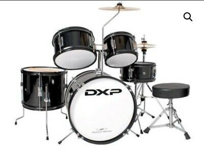 5 Piece Black Drum Kit Full Size Complete Set Stool Cymbals Snare Drums Sticks