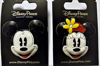 Disney Parks 2 Pin Lot Mickey Mouse + Minnie 3D puffy heads