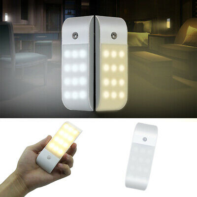 Rechargeable USB 12 LED PIR Motion Sensor Induction Night Light Cabinet Lamp New