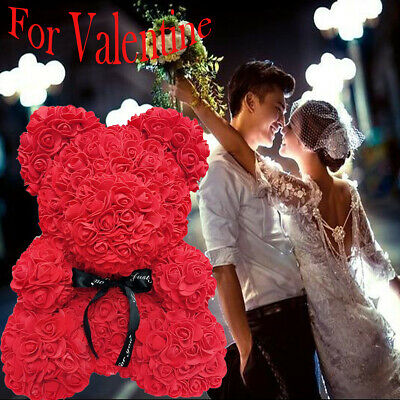 Love Teddy Bear Rose Box Foam Flower Valentine Wedding Birthday Gift UK SELLER
