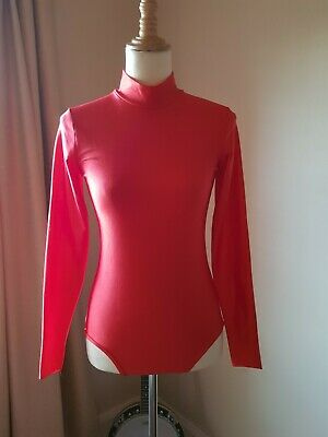 Leotard - Long Sleeve - high neck - Red - Medium Adult- Zip Back - Dance