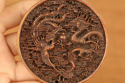 unique wood hand carved dragon phoenix statue netsuke pendant