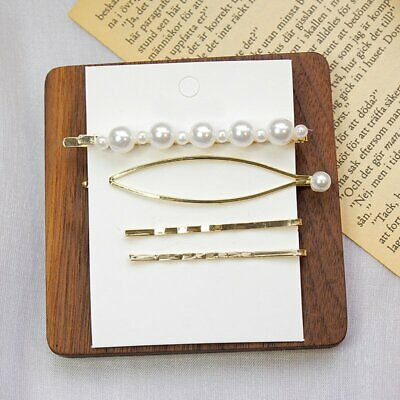 4pcs Chic Pearl Hair Clip Snap Stick Hair Barrette Hairpin Women Party Hot Gift