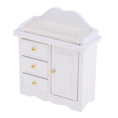 Mini Living Room Wooden Cabinet With Drawer For 1/12 Dollhouse Furniture