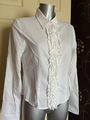 Planet White Smart Evening Formal Occasion Frill Front Top Blouse 12