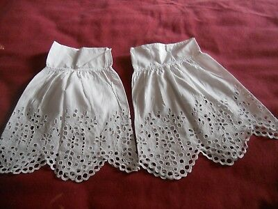 """Antique white cotton PAIR girls SLEEVES? broidery panels  10"""" long"""
