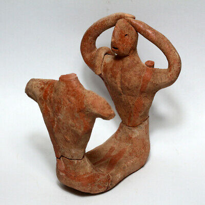Unique-Middle East Circa 2500-1000 Bc Double Idol Statue , Ceramic