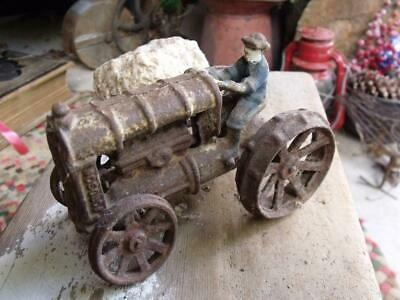 Rustic Primitive Vintage Cast Iron Fordson Tractor Toy Farm Auction Find