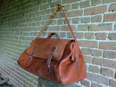 Vintage French  Very  Large Leather Travel Weekend Bag Gladstone Bag