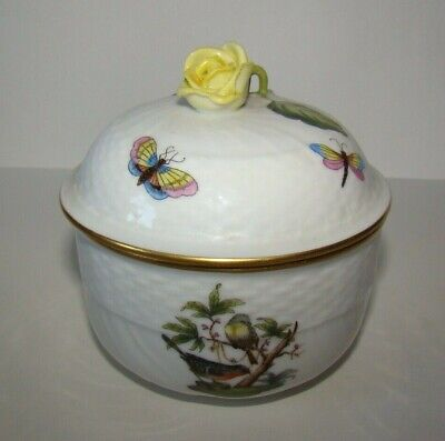 Hand painted Herend Hungary Porcelain covered Bowl small Rose Finial Birds /Bugs